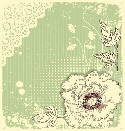 fondos colores pastel: Decoraci�n floral de vector.Fondo de flores para el texto con elementos grunge