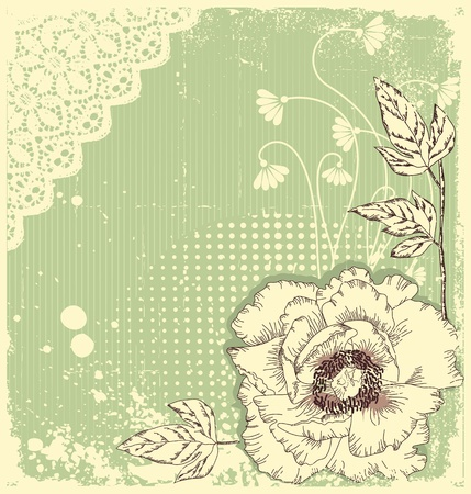 Vector floral decoration .Flowers background for text with grunge elements Vector Illustration