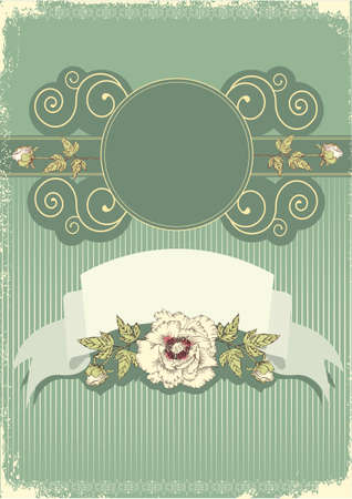 Vector floral decoration .Flowers background for text with grunge elements and scroll  Stock Vector - 9800724