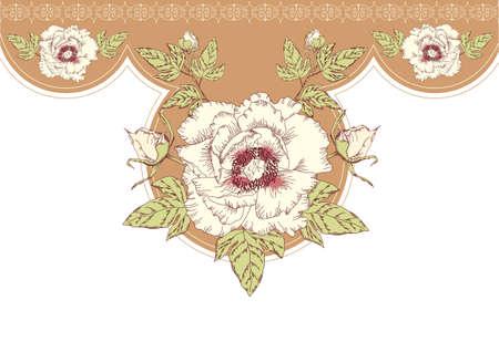 Vintage flowers postcard for text.Vector floral background  Vector