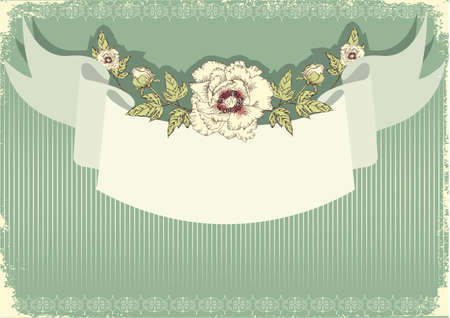 Vector floral decoration .Flowers background for text with grunge elements and scroll  Stock Vector - 9800712
