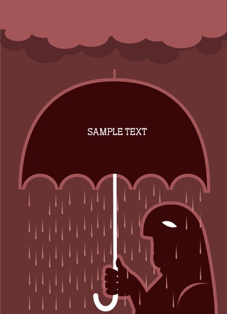 unsuccess: man and umbrella.Vector raining poster for text