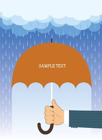 raining background: Hand with umbrella under big rain.Vector background for text