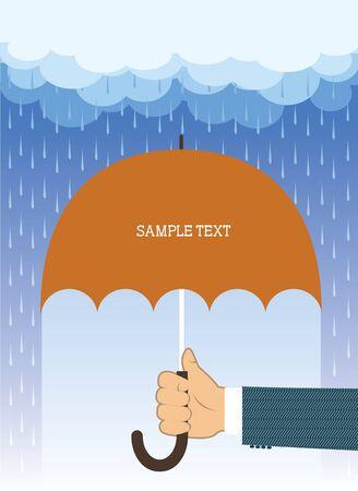lloviendo: Mano con paraguas bajo la lluvia grande.Fondo de vector para el texto  Vectores