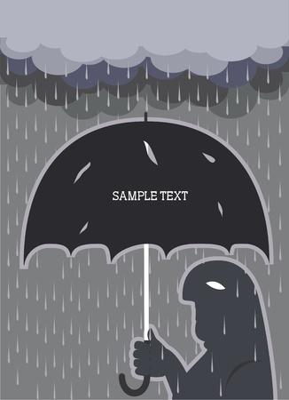UOMO pioggia: Pioggia.Uomo vettoriale con sfondo ombrello rotto per il testo