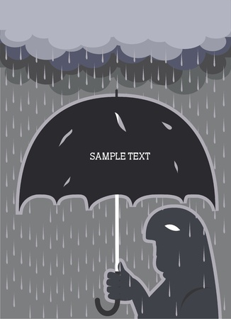 umbrella rain: Rain .Vector man with broken umbrella background for text