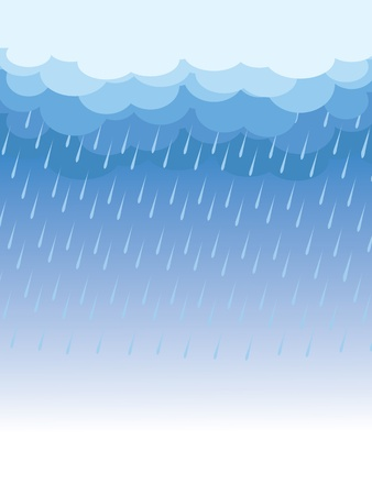 дождь: Rain.Vector image with dark clouds in wet day