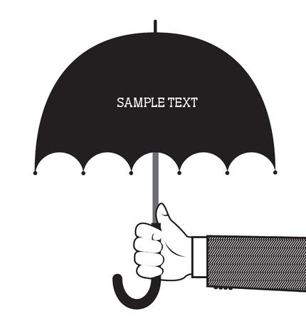 손을 잡고 우산. 벡터 그래픽 배경 텍스트 흰색
