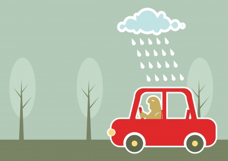 man driving by car under raining cloud.Vector background Фото со стока - 9800776