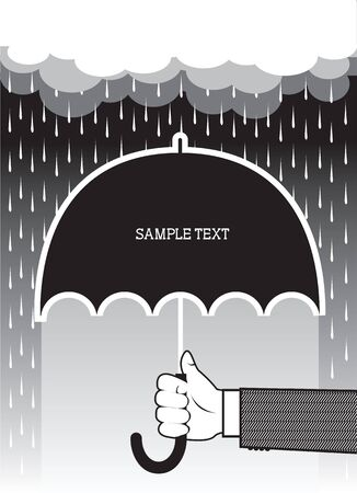 Hand with umbrella under big rain.Vector background for text  Vector