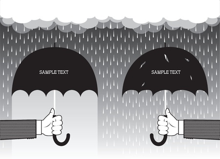 Hands holding umbrellas under big rain.Vector graphic background for text  Vector