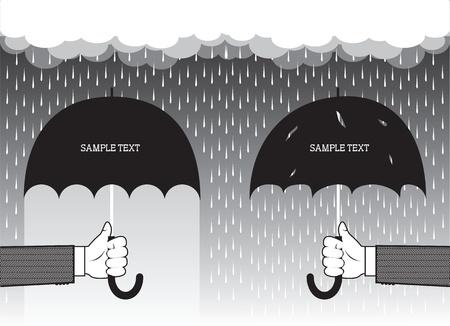 Hände halten Regenschirme unter großen rain.Vector grafischen Hintergrund für Text