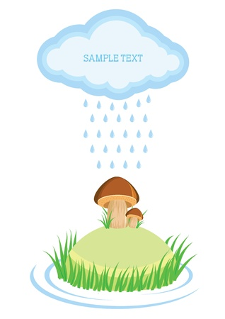mushrooms in raining day.cartoon background for text Vector