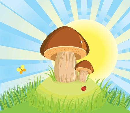 mushrooms and green grass.cartoon Illustration Vector