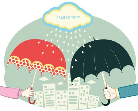 Hands holding umbrellas in raining day.retro colored image for text