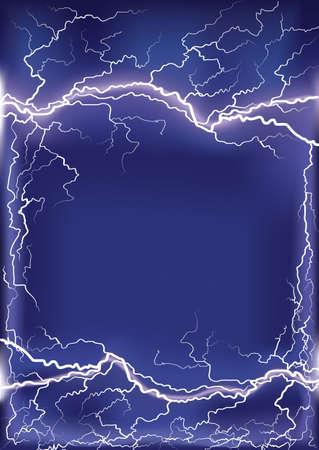 Lightning strike on dark blue frame background for design or text with Mesh Stock Vector - 9923594