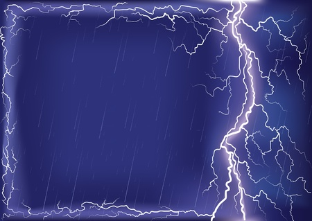 Lightning strike on dark blue sky.background for design or text with Mesh Stock Vector - 9923593