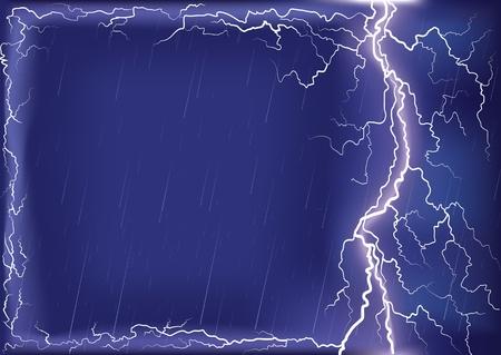 Lightning strike on dark blue sky.background for design or text with Mesh Stock Vector - 9923593