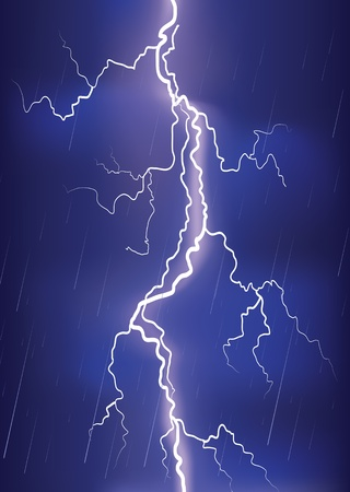Lightning strike on dark blue sky.image of danger   Stock Vector - 9923592