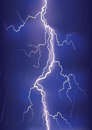 bolts: Lightning strike on dark blue sky.image of danger