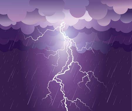 Lightning strike.rain image with dark clouds  Stock Vector - 9923591