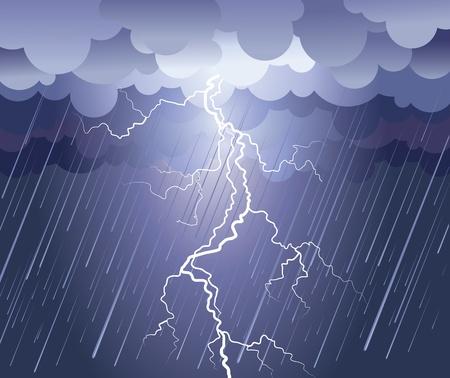 temp�te: Image de strike.rain de foudre avec nuages sombres