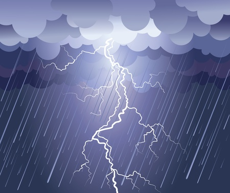 Lightning strike.rain image with dark clouds