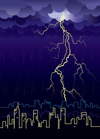 Lightning strikes and rain in big city.illustration Stock Vector - 9923602