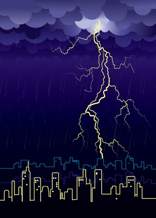 Lightning strikes and rain in big city.illustration