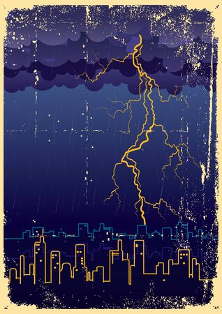 Lightning strikes and rain in big city.Grunge image on old paper Stock Vector - 9923652