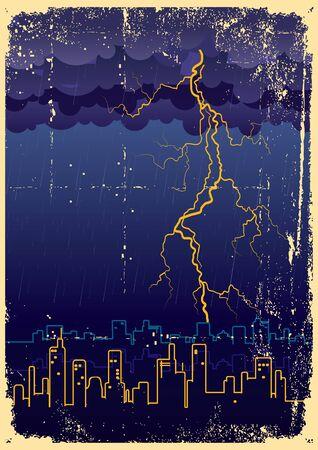 megapolis: Lightning strikes and rain in big city.Grunge image on old paper