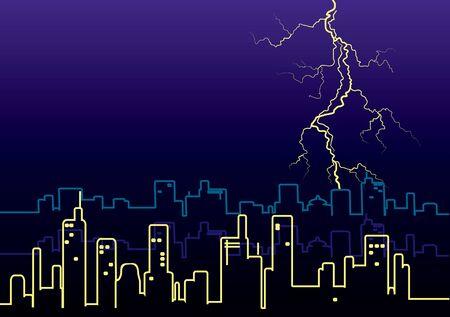 megapolis: Lightning strikes and rain in big city.illustration