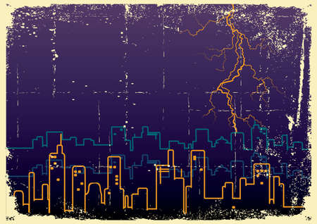 Lightning strikes and rain in big city.Grunge image on old paper Stock Vector - 9923606
