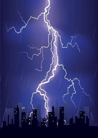 Lightning strikes and rain in big city.illustration with Mesh  Stock Vector - 9923604