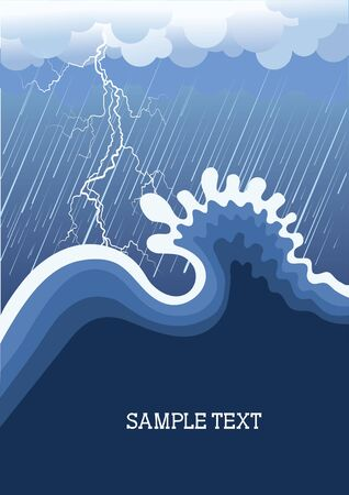 dramatic sky: Tormenta en el oc�ano con gran wave.illustration