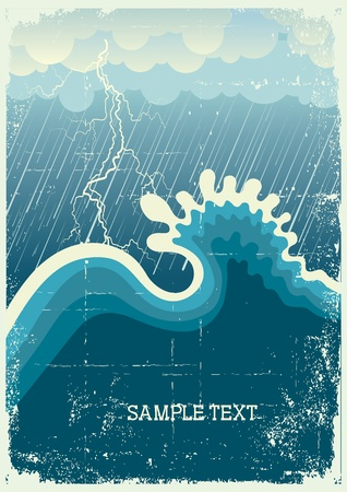 Storm in ocean with big wave and lightning.vintage illustration Vector
