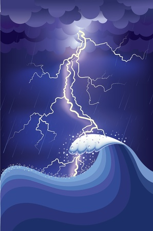Storm in ocean with lightning strikes and rain.illustration and Mesh Stock Vector - 9923605