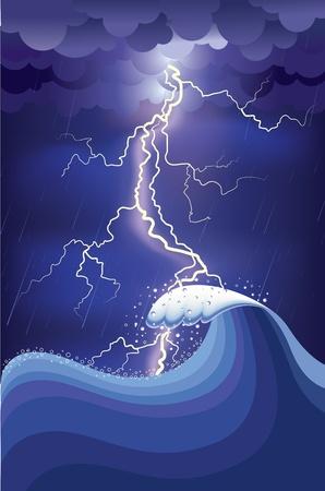 dark cloud: Tormenta en el oc�ano con rel�mpagos y rain.illustration y malla