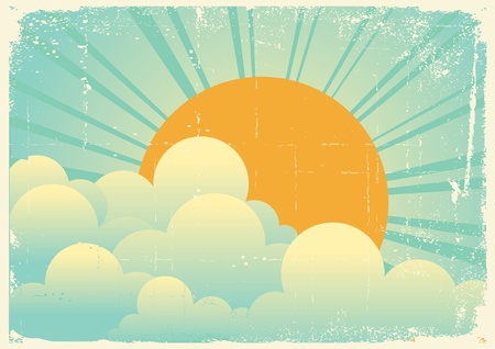 retro sunrise: sky with beautiful clouds.vintage cloudscape on old paper texture Illustration