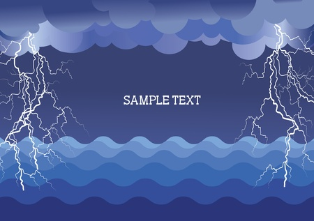 sea disaster: Storm in ocean with lightning strikes .illustration background for text