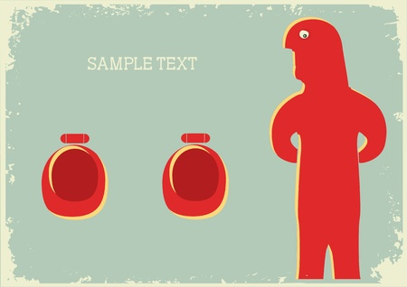 Man in toilet .vintage background on old paper texture Vector