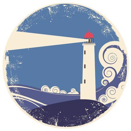 Faro en ilustración de landscape.vintage de mar de papel viejo