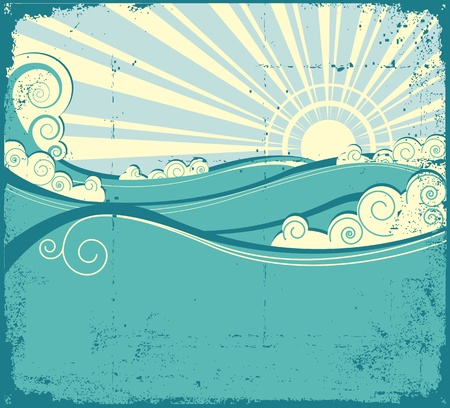 밀려 오는 파도: Sea waves background. Vintage illustration of sea landscape 일러스트