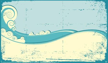 rippled: Onde del mare di sfondo. Vintage illustrazione del paesaggio mare
