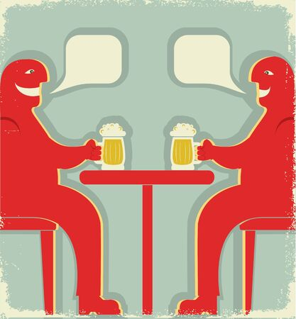 pint: Two men are sitting with glasses of beer who toast.vintage poster