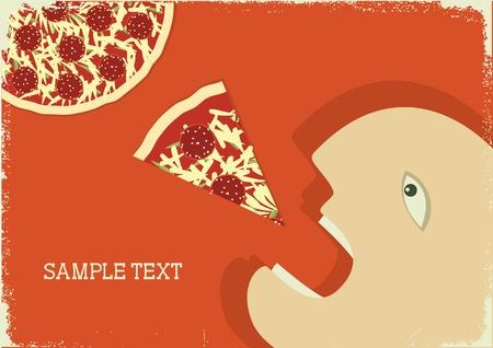 Hombre hambriento de vector y pizza. Cartel de vector grunge  Ilustración de vector