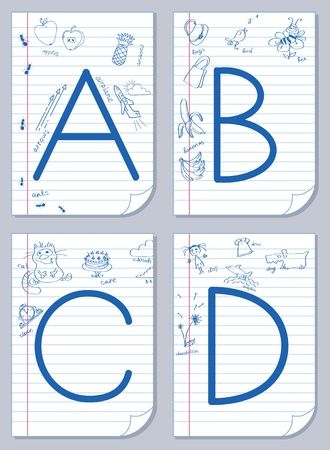 Vector English alphabet on school paper background with child pictures Stock Vector - 10035422