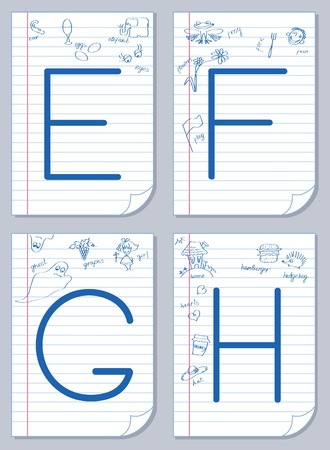 spelling: Vector English alphabet on school paper background with child pictures