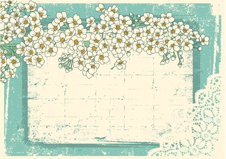 Vintage floral background with grunge decor frame for text Stock Vector - 10101347