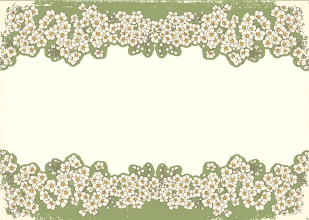 Vintage flowers postcard for text.Vector floral background with grunge elements Stock Vector - 10101349